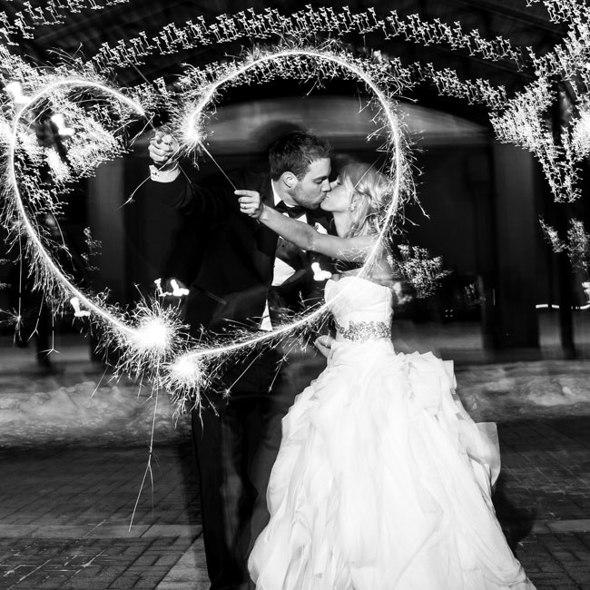 Before leaving the ceremony, guests surrounded the couple for a grand sparkler exit.