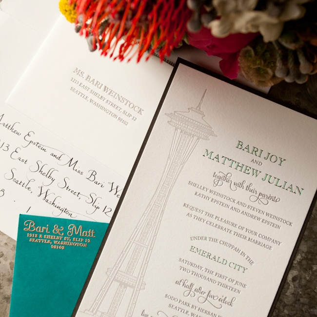 Bari and Matt's invitations played tribute to the Emerald City with letterpress invitations featuring Seattle's iconic Space Needle.