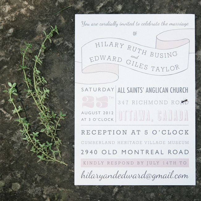 Hilary and Edward worked with Paper Arrow Press in the UK to design modern vintage bespoke wedding stationery in a soft gray and pink color palette.
