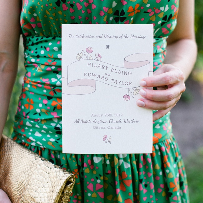 The ceremony programs, made by Paper Arrow Press, matched the couple's wedding invitations and incorporated their floral theme.