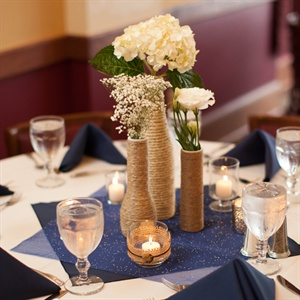 Twine-Wrapped Flower Vase Centerpieces
