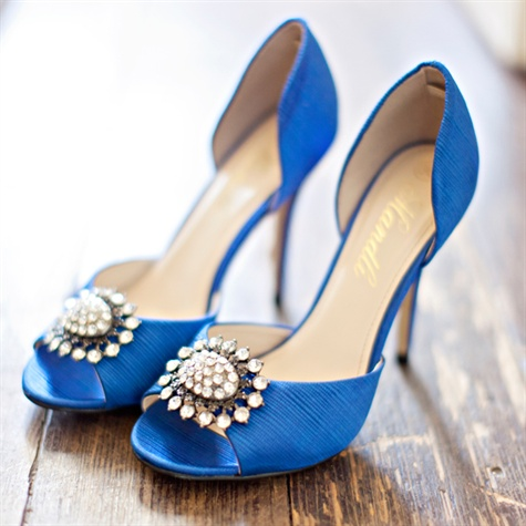 Embellished Blue Bridal Heels