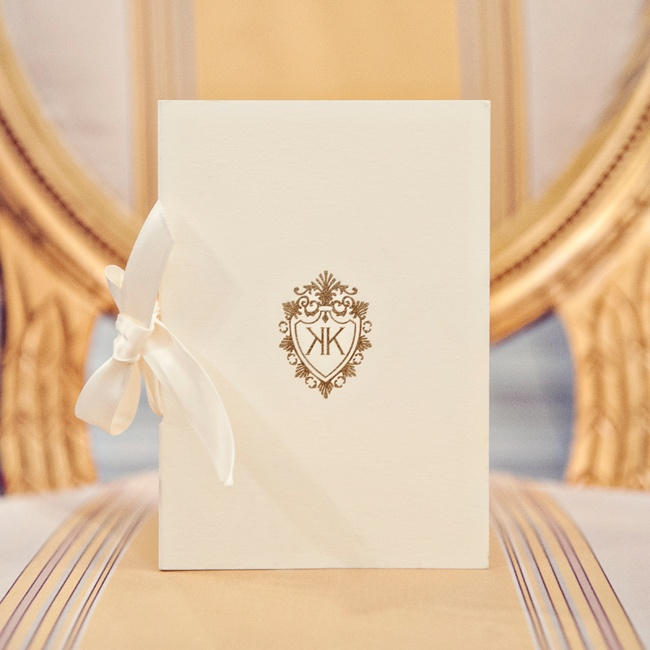 Fancy That NYC created a custom monogram for the couple and incorporated the personalized gold detail throughout the ceremony and reception.