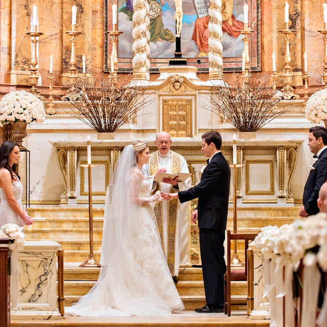 Before hosting a grand ballroom reception at the Plaza Hotel, Kelley and Kevin wed at St. Ignatius Church.