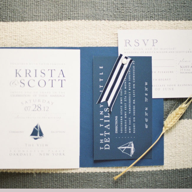 The couple handmade their preppy navy invitations with nautical touches and a a sailboat motif.