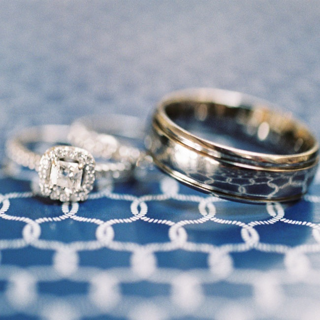 The couple exchanged traditional wedding bands during their nautical ceremony.