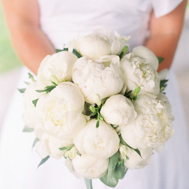 A family friend arranged a luscious white peony bouquet for Krista to carry down the aisle.