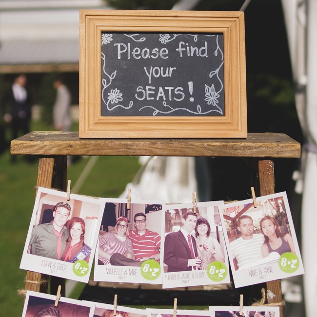 Polaroid photos were the inspiration for the couple's escort cards, which Zurry made herself.