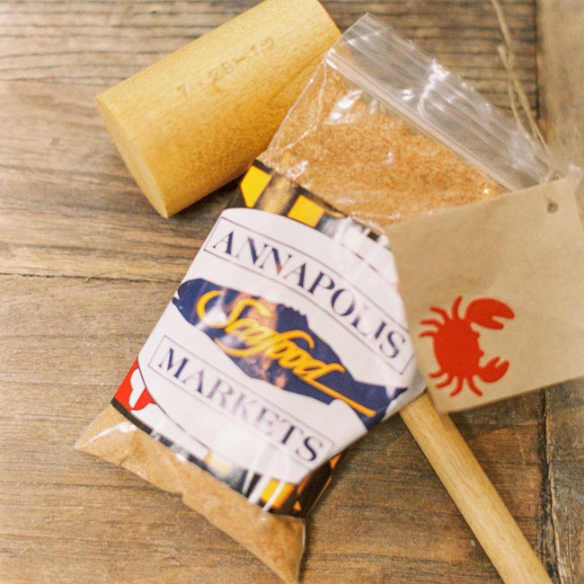 Old Bay Seasoning and crab mallets were the perfect favor for the seaside wedding.