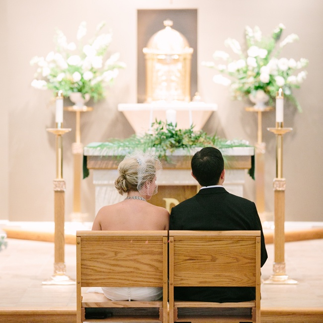 The couple participated in a classic indoor church ceremony.