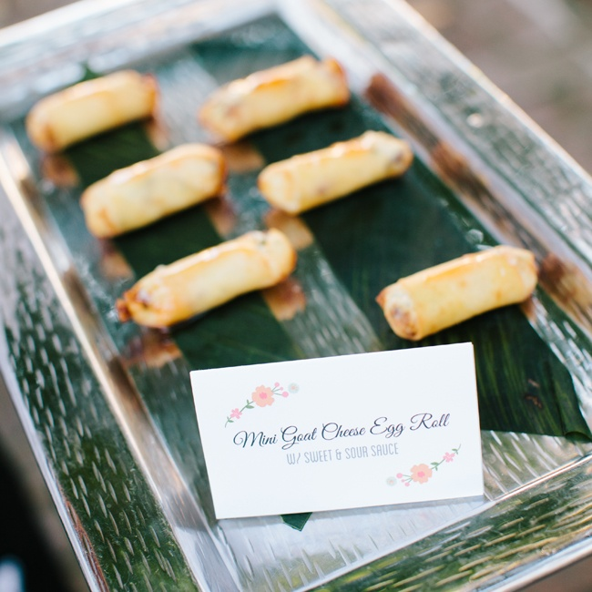 Guests enjoyed hand-passed appetizers, including these mini goat cheese egg rolls.