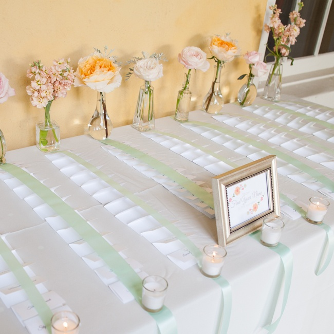 Guests found their escort cards beneath mint colored shiny ribbons held down by candles and flowers.