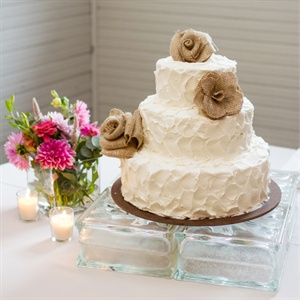 Burlap Flower Cake