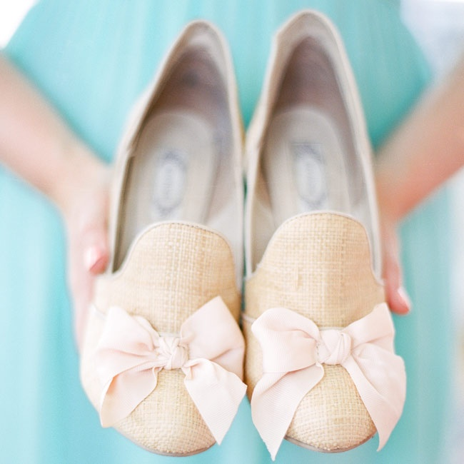 The bridal party's shoes were hand made by designer Joyfolie in a linen, burlap inspired nude color.