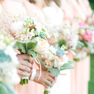 Peony and Lamb's Ear Bridesmaid Bouquets