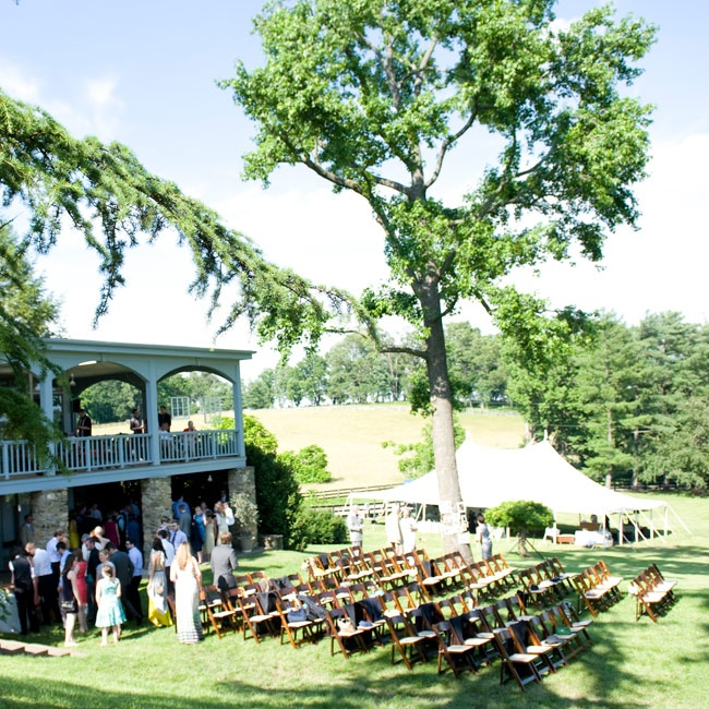 The couple was married at the bride's family home in Unison, VA in an outdoor ceremony.