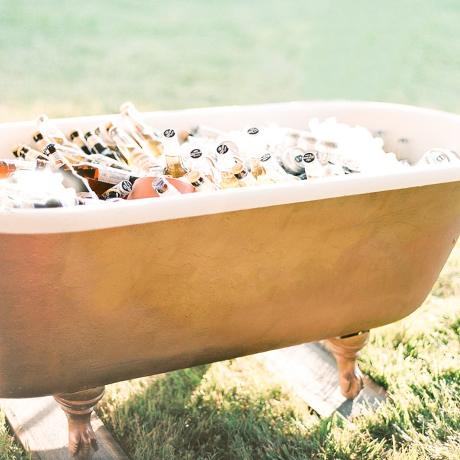 In a clever nod to prohibition, guests were treated to a cooler full of beer placed in an antique bathtub for cocktail hour.