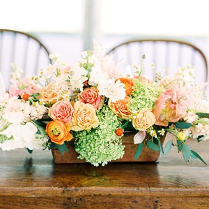 Peach and Green Centerpieces