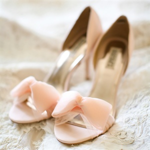 Peach Bow Bridal Heels