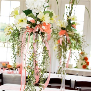 Peach and White Floral Centerpieces