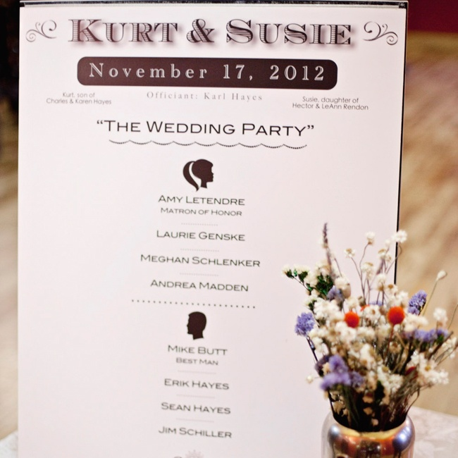 Instead of traditional individual programs, Susie designed a sign that she hung at the entrance of the ceremony.