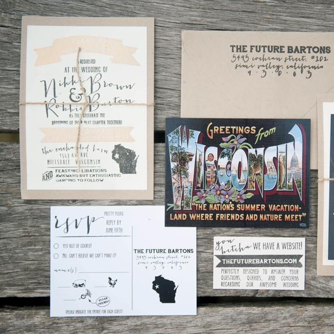 These cute and funny postcard-inspired invitations were completely designed by the bride herself.