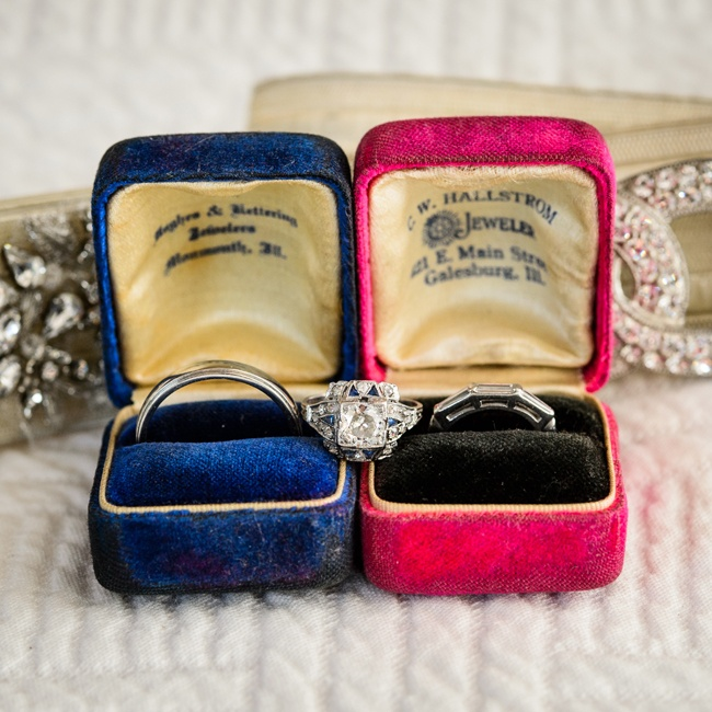 The couple chose unique vintage wedding rings from the 1920's, which they discovered at Pippin Vintage Jewelry in New York City.