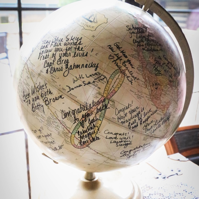 Amanda and James had their guests sign a globe, inspired by their theme, in lieu of a traditional guestbook.