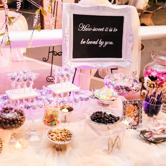 Guests were invited to make their own bags of sweet treats at the candy buffet.