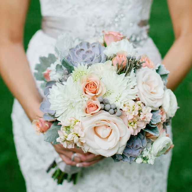 Monica carried a rich textured bouquet with dahlias, roses, succulents and gray leucodendron berries.