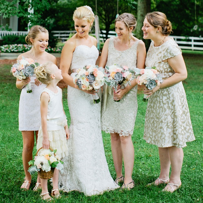 The bridesmaids wore their own dresses in neutral shades.