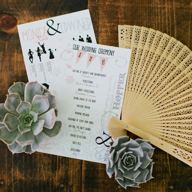 Mixed typefaces and delicate illustrations in pastel colors gave the couple's ceremony programs a contemporary rustic air.