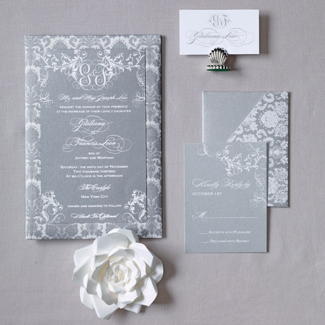 A basic invite gets an upgrade with metallic ink and silk details.