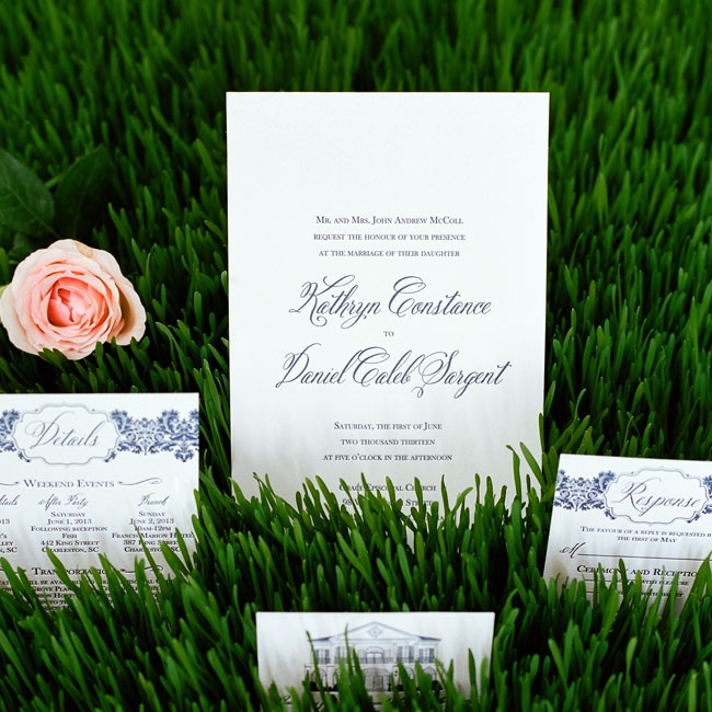 The couple chose elegant letterpress invitations with navy ink and damask details.