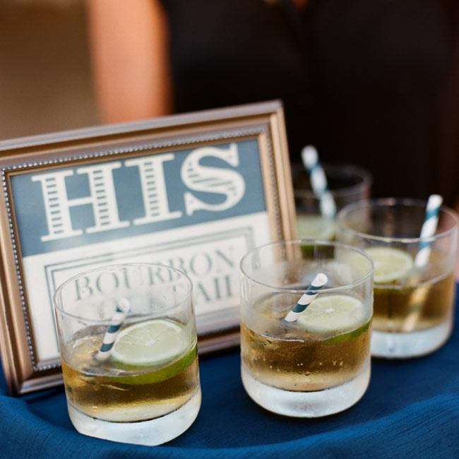 """His"" and ""hers"" drinks were passed out to guests during cocktail hour. Bourbon cocktails with fresh slices of lime and navy striped straws were Cal's drink of choice."