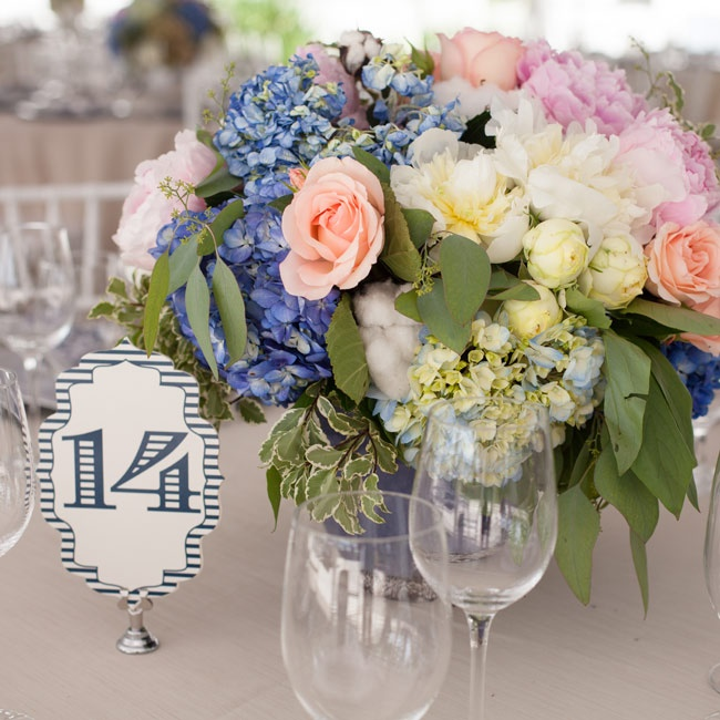 Bold fonts in navy and ivory gave the table numbers a vintage feel.
