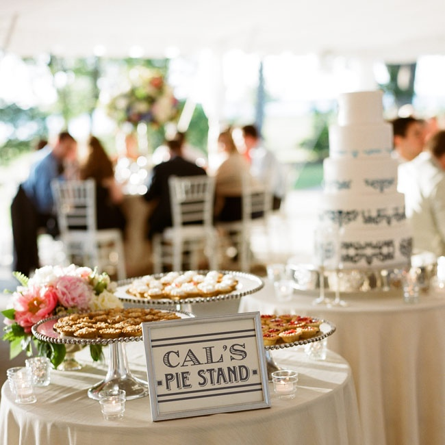 For a southern flair, the couple offered up an array of miniature pies in addition to the traditional cake.