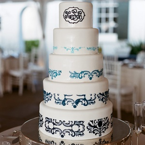 Modern Fondant Cake with Blue Damask