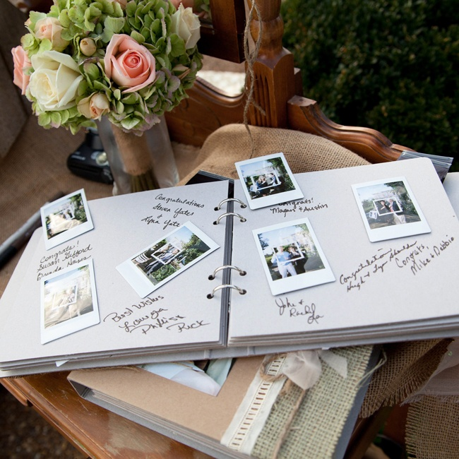 Guests took Polaroid pictures of themselves and pasted them into a scrapbook and left messages for the bride and groom.