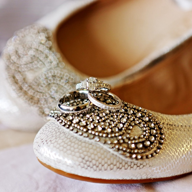 Crystal embellishments on Holly's champagne-colored flats gave them a vintage air.