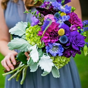 Lamb's Ear Purple Bridesmaid Bouquet