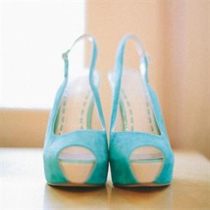 Blue Suede Bridal Heels
