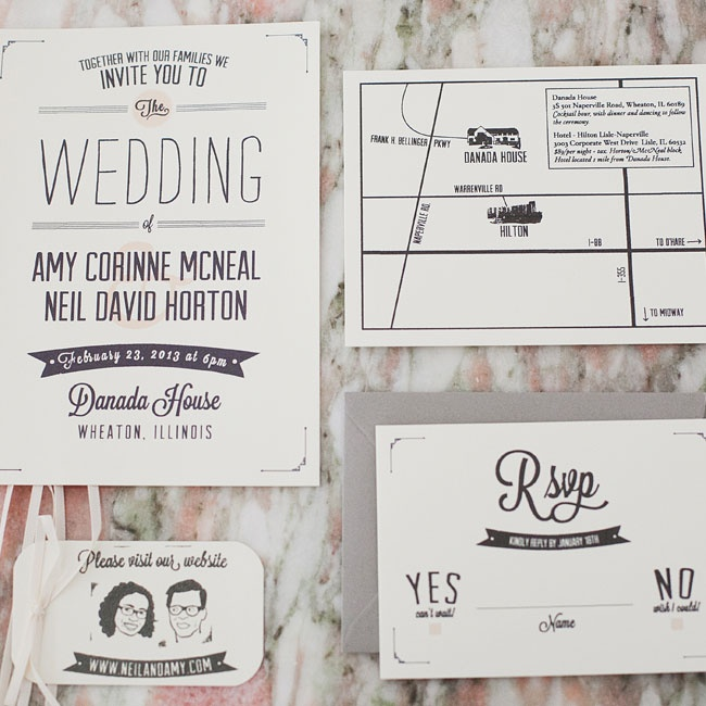 A graphic designer in Brooklyn (where the couple now lives) created the design for the whimsical invitation suite, which the couple was able to print at home on paper from a local retailer.