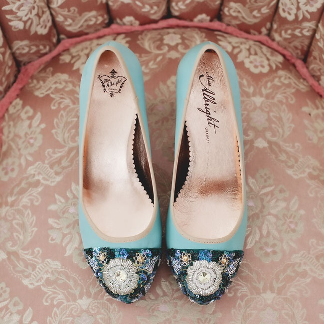 "Amy found her ""something blue"" sequined wedding shoes at Anthropologie."