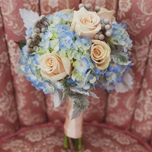 Blue and Peach Bridesmaid Bouquets