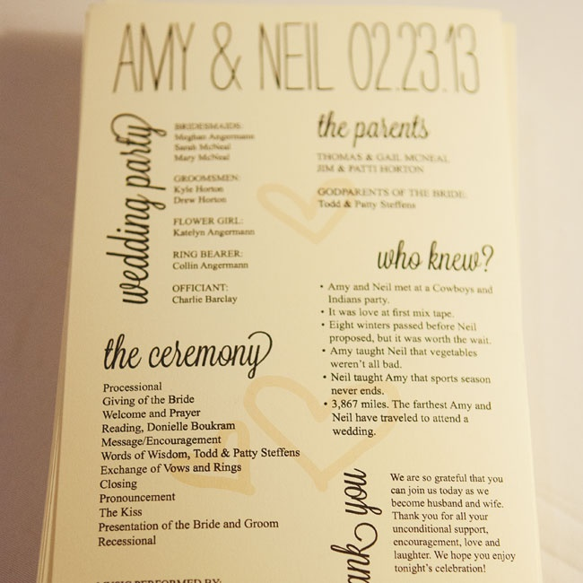A friend of the bride designed the programs, and the couple printed them at home on paper from Paper Source.