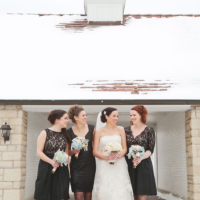 Amy let her bridesmaids choose their own dresses. It was a happy accident that they all chose black!