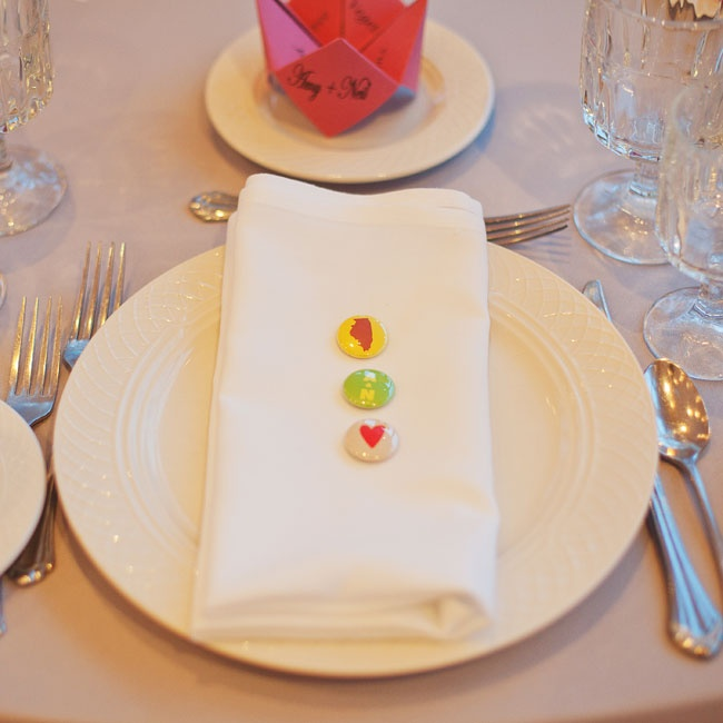 Small colorful buttons, designed and printed at home, were a fitting favor to take home at the end of the celebration.