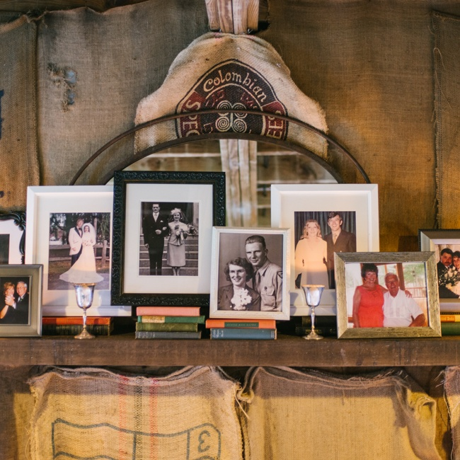 Jessica and Ryan incorporated vintage family photos of their parents and grandparents on their wedding day into the decor.