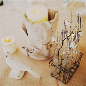 Burlap and Candle Reception Decor